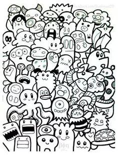 Galerie de coloriages gratuits coloriage-doodle-doodling-10. Personnages 'gribouilés' tout droit sortis de jeux vidéos !
