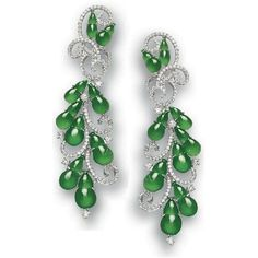 "Pair of Jadeite ""Gourd"" & Diamond Pendant Earrings ❤ liked on Polyvore featuring earrings and jewelry"