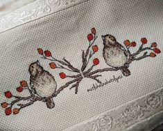# # Işlemehavl the canvas . Cross Stitch Bird, Cross Stitch Borders, Cross Stitch Animals, Crafts To Do, Diy Crafts, Lily, Birds, Embroidery, Bath Linens