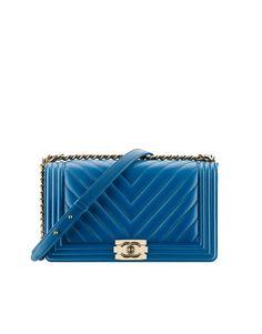 Bolsa BOY CHANEL grande, couro de cordeiro & metal dourado-azul - CHANEL