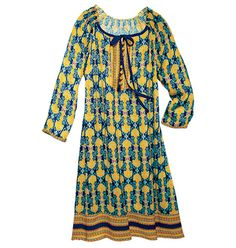 Uptown chic meets gypsy flair. 100% rayon. Button front with ribbon-and-bow neckline. Printed border at hemline. Machine wash and dry. Imported.     ORDER HERE: http://shop.avon.com/shop/product.aspx?pf_id=42584_id=ethnic printed dress |P_Ethnic Printed Dress in Womens