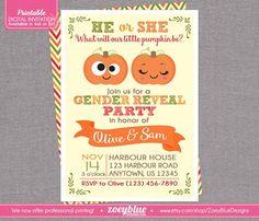 Pumpkin Gender Reveal Invitation - Little Pumpkin Baby Shower Girl or Boy Twin Autumn Theme - Fall Gender Reveal Thanksgiving Digital File