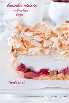 Rhubarb crumb bars with merinque - Kruche ciasto z rabarbarem i bezą ilovebake. 20 Min, Confectionery, Cereal, Cheesecake, Food And Drink, Sweets, Cooking, Breakfast, Recipes