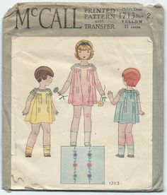 1930s Vintage Sewing Pattern McCall 1713 Childs One Piece Dress Ruffle Sleeves