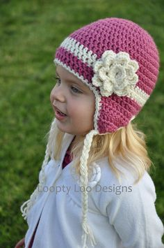 Girl Crochet Earflap Hat With Flower, Striped hat, girls hat,  pink cream, newborn photo prop, warm hat -Sizes 12 MONTHS AND UP -more colors on Etsy, $25.00