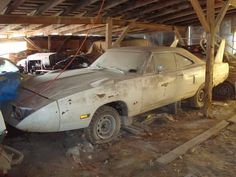 Epic Barn Find in Midwest, Superbird, Talladega, Charger 500 and MORE. When you see someone who has all these awesome cars just sitting and rotting, it makes you wonder what they're thinking! Let someone else buy them and bring them back to brilliance! Dodge Charger Daytona, Dodge Daytona, Junkyard Cars, Plymouth Superbird, Car Barn, Abandoned Cars, Abandoned Vehicles, Rusty Cars, Sweet Cars