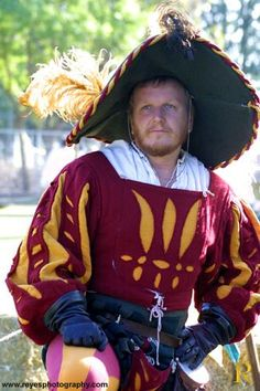 Landsknecht wams, love the hat.  and in my husbands colors even!
