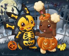 Pokemon Halloween wallpaper by babiedol Pokemon Halloween, Anime Halloween, Halloween Cartoons, Halloween Art, Happy Halloween, Halloween Scene, Halloween Treats, Halloween Costumes, Pokemon Memes