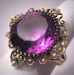 Antique Amethyst Seed Pearl Ring Victorian