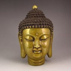 Chinese Brass Buddha Head Statue