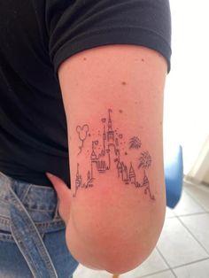 Mickey Tattoo, Disney Tattoos Small, Disney Sleeve Tattoos, Small Tattoos, Disney Tattoos Castle, Disney Tattoos Quotes, Girly Tattoos, Pretty Tattoos, Mini Tattoos