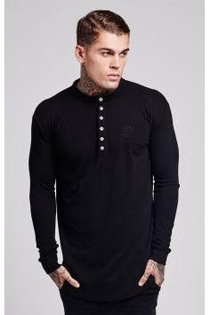 2b7ea5b4faea65 Collarless Polo Shirt - Black Sik Silk