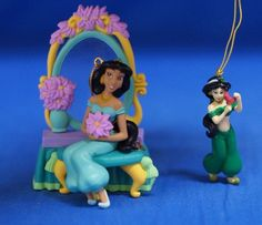 Jasmine Mirror 2 Pc Light up Christmas Ornament Set Figurine Disney Aladdin #Enesco