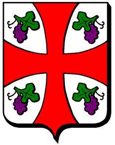 """54369 Millery : """"D'argent à la croix pattée de gueules cantonnée de 4 grappes de raisin de pourpre feuillées de sinople."""""""