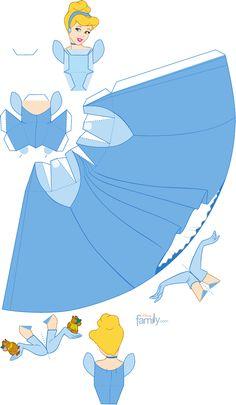 Cinderella from Disney. 3d Paper Crafts, Paper Toys, Paper Art, Diy And Crafts, Aurora Disney, Disney Diy, Disney Crafts, Disney Paper Dolls, Cinderella Birthday