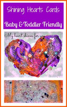 Shining hand prints heart Valentine's day card