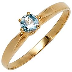 Ladies Ring with Aquamarine light blue & 585 Gold Yellow Gold plain Gold Ring Modern Jewelry, Fine Jewelry, Plain Gold Ring, Aquamarin Ring, Topas, Aquamarine Blue, Gold Pendant, Beautiful Rings, Jewelery