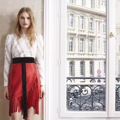 #maje LAMIA top, JAWA dress and ANOUSHKA belt.  Coming soon in stores and on www.maje.com. #FW15 #majemusthave #Paris #fashion