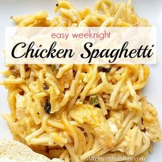 Easy Weeknight Chicken Spaghetti by A Reinvented Mom