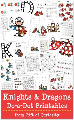 Knights and Dragons Do-a-Dot Printables: 24 pages of free do-a-dot worksheets focused on the brave knights and fearsome dragons of Medieval times || Gift of Curiosity