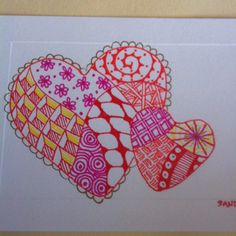 My first ever zentangle heart!!