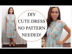 How to sew Dress without Pattern, Sewing project for Beginners - YouTube