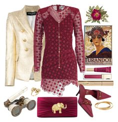 """""""Opera Night- contest"""" by loves-elephants ❤ liked on Polyvore featuring Balmain, Clarins, Stila, self-portrait, Gucci, Too Faced Cosmetics, Fragments, Gunne Sax By Jessica McClintock, Cartier and Alexander McQueen"""