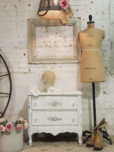 Cottage Shabby Oyster Romantic French Night Table [OFNT504] - $160.00 : The Painted Cottage, Vintage Painted Furniture