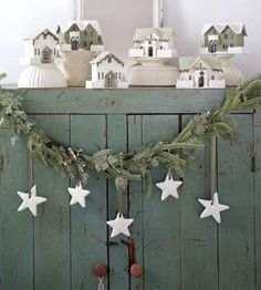 Consider hanging items from garland this season. These pretty white stars add a festive touch.