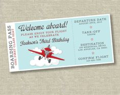 Airplane birthday invitation airplane ticket by SweetfaceInk Planes Birthday, Planes Party, Boy Birthday, Birthday Ideas, Vintage Airplane Party, Vintage Airplanes, Ticket Invitation, Birthday Invitations, First Birthday Parties