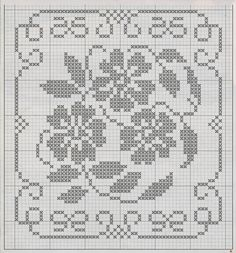 Professione Donna: Schemi per il filet: Cuscino a filet con motivo floreale Filet Crochet Charts, Crochet Motifs, Crochet Quilt, Crochet Borders, Crochet Tablecloth, Crochet Cross, Thread Crochet, Crochet Doilies, Crochet Patterns
