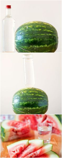 """August Home Party - """"National Watermelon Day"""": HOW TO: Make Vodka-Infused Watermelon {click through for Vodka Infused Watermelon, Alcohol Infused Fruit, Infused Vodka, Cocktails, Non Alcoholic Drinks, Party Drinks, Cocktail Drinks, Recipes, Party"""