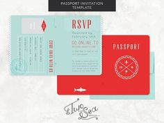 Passport Wedding Invitation Template by Two if by Sea Studios on @creativemarket