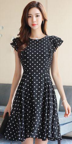 StyleOnme_Polka Dot Ruffle Sleeve Flared Dress #polkadot #dress #elegant #feminine #kstyle #koreanfashion #spring #dailylook