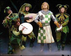 Greg Reuter, Emily Hsu, Bard Bailey, David Hyde Pierece and Christian Borle (as the minstrel)