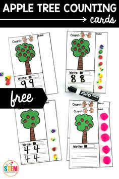 These super fun apple counting cards are a great way to practice numbers in a variety of ways. Plus, they're perfect for fall! #apple #writeandwipe #applecounting #applemath Apple Activities, Literacy Activities, Teaching Resources, Activities For Kids, Math Stem, Writing Numbers, Apple Tree, Homeschool Curriculum, Science Experiments