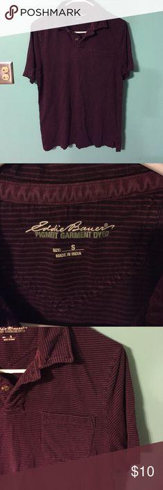 Eddie Bauer men's polo Sz S burgundy stripe Eddie Bauer men's pigment garment dyed polo Sz S burgundy stripe, very soft. Great condition. Eddie Bauer Shirts Polos