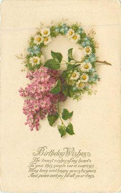 BIRTHDAY WISHES daisy wreath & lilac