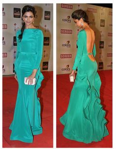 Love the details on the back of the dress!  Deepika wearing Gauri and Nainika at Colours screen awards
