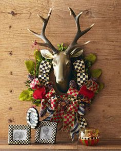 MacKenzie-Childs Orchard Check Stag Wreath on shopstyle.com