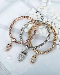Three 3 owl charms bracelet set