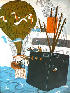 Roger Duvoisin - The Happy Lions Vacation - Balloon and steam boat