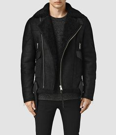 Mens Takoma Shearling Jacket (Black) - product_image_alt_text_1