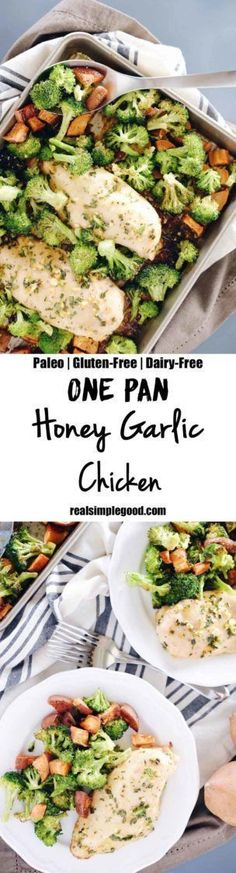 We LOVE the ease of a one pan dish. Our one pan honey garlic chicken has it all, including chicken, sweet potato, broccoli, and a slew of tasty seasonings. Paleo, Gluten-Free + Dairy-Free.  http://realsimplegood.com/one-pan-honey-garlic-chicken/