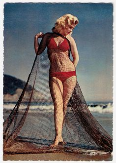Netted, but not trapped... #vintage #summer #beach #1950s #bikini #pinup