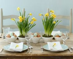 Spring and easter table setting