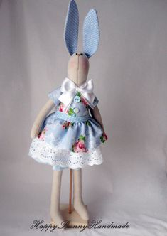 Hare/Bunny/ Easter bunny/Bunny doll/ Blue by HappyBunnyHandmade