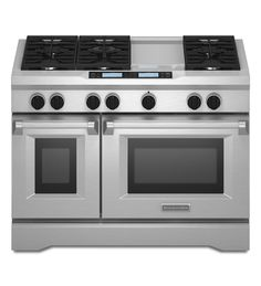 KitchenAid® 48-Inch 6-Burner with Steam-Assist Oven, Dual Fuel Freestanding Range, Commercial-Style