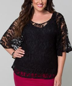 Another great find on #zulily! Black Lace Ethereal Cape-Sleeve Top - Plus by KIYONNA #zulilyfinds