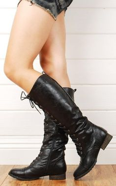 Women Military Lace Up Knee High Combat Boots